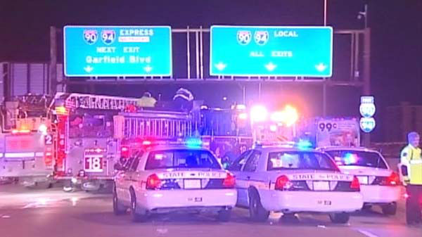 "<div class=""meta ""><span class=""caption-text "">One person was killed and four others were injured in a crash on the southbound Dan Ryan near 26th Street early Saturday, April 26.  (WLS Photo)</span></div>"