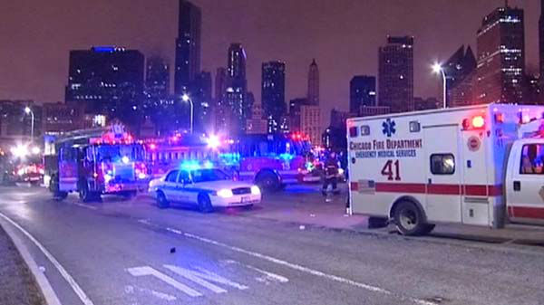 Four people were hurt when a wrong-way driver crashed head-on into a cab on Lake Shore Drive near Randolph early Friday, May 2, 2014.  <span class=meta>(WLS Photo)</span>