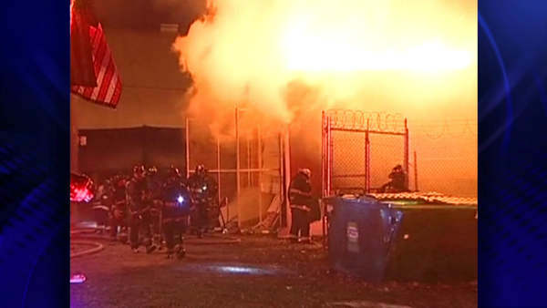 Firefighters battled a warehouse blaze at 12653 South Doty in Chicago Thursday night.