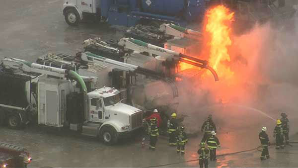"<div class=""meta ""><span class=""caption-text "">Three semis caught fire in the parking lot of the BP Amoco plant in Hammond, Ind.  (WLS Photo)</span></div>"