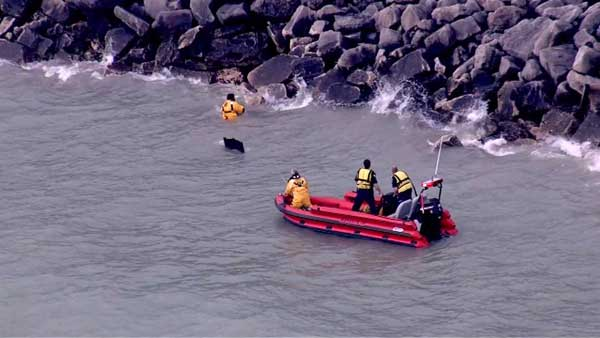 "<div class=""meta ""><span class=""caption-text ""> Emergency crews were called to Lake Michigan for a water rescue near the suburban Lake Forest shoreline.  (WLS Photo)</span></div>"