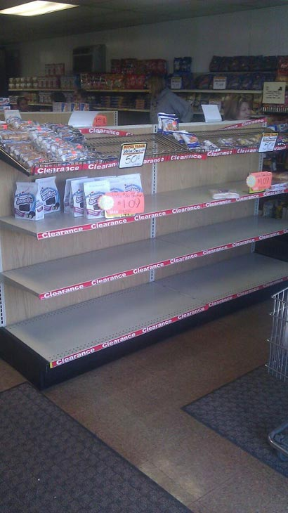 "User-submitted photo, via Facebook: ""River Grove Hostess store at 10am, Almost everything was gone including bread within a half hour of this photo, not that there is much left here."" Fans of Twinkies, HoHos, Suzy Q's and other Hostess products are stocking up now after the company announced it has filed a motion with the U.S. Bankruptcy Court seeking permission to close its business and sell its assets, Friday, Nov. 16, 2012. E-mail your photos to useeit@abc7chicago.com"