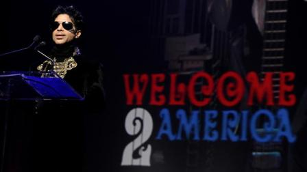 Musician Prince holds a press conference at The Apollo Theater announcing his Welcome 2 America tour in New York, on Thursday, Oct. 14, 2010.