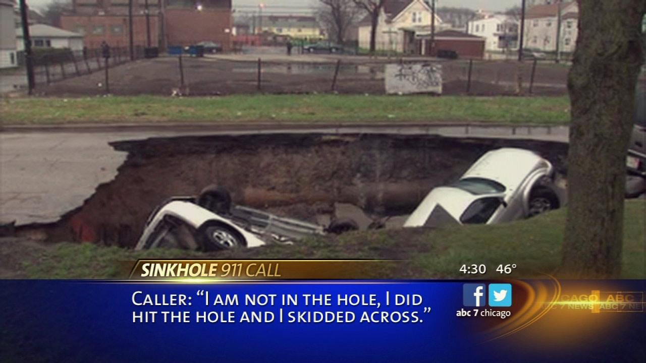 The 911 call has been released from the exact moment a sinkhole swallowed a car on the South Side last month.