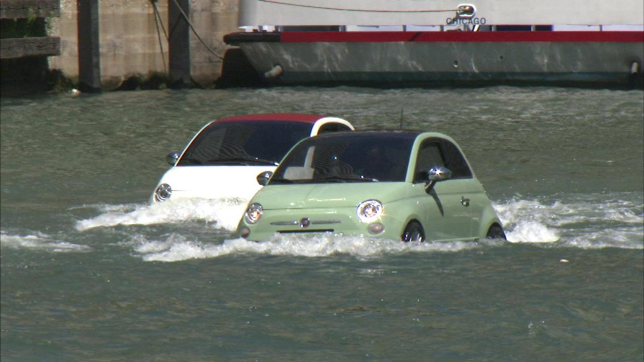 Four Fiat 500 jet skis made quite a splash riding along the Chicago River Sunday, much to the surprise of boaters and pedestrians who happened to be in the neighborhood.