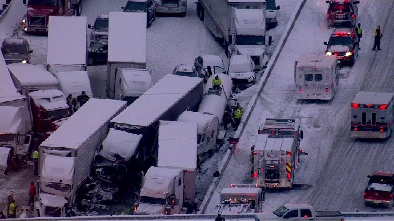 At least 15 semis and too many cars to count were involved in a fatal crash on I-94 near Michigan City, Ind., on January 23, 2014, officials said  <span class=meta>(Via Facebook fan Jena Nicole Karras)</span>