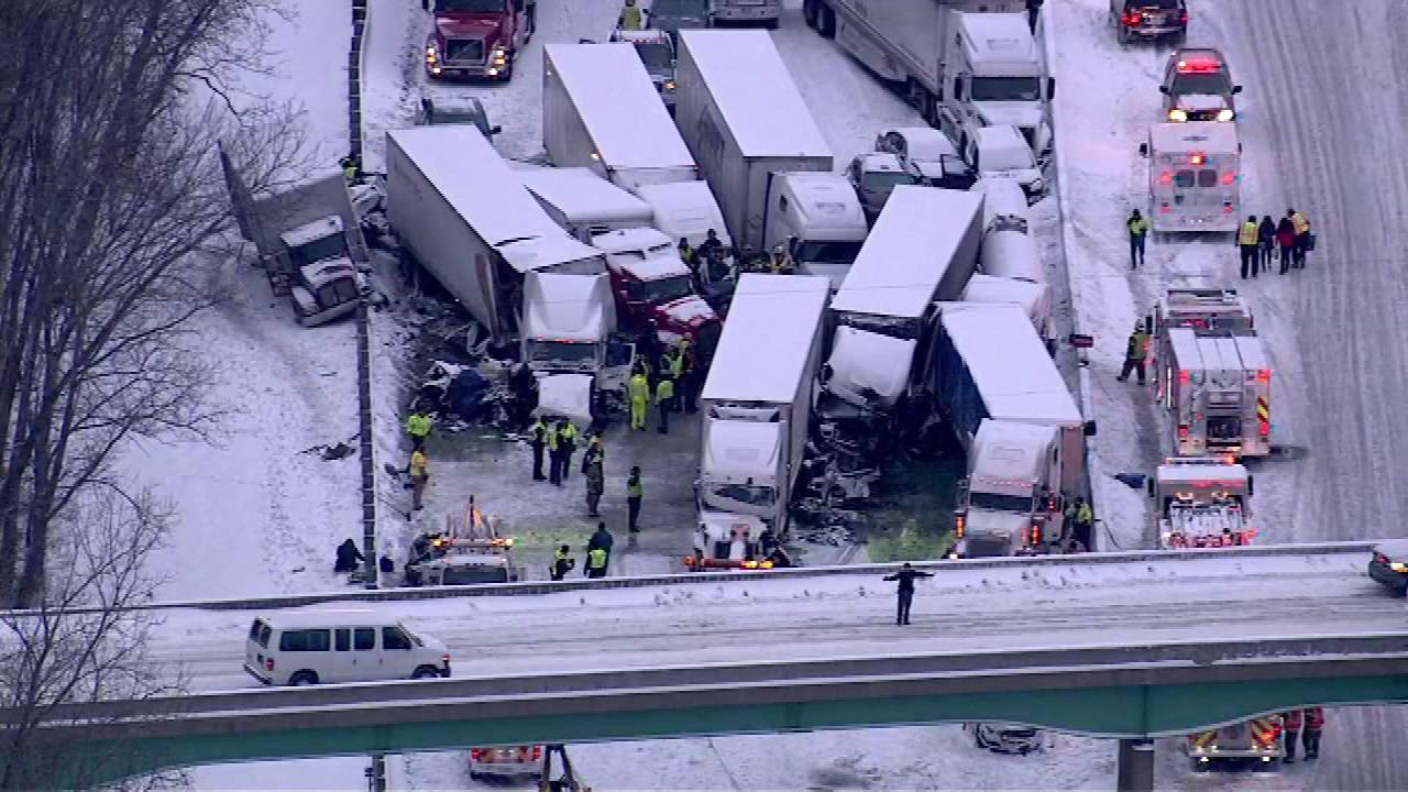 At least 15 semis and too many cars to count were involved in a fatal crash on I-94 near Michigan City, Ind., on January 23, 2014, officials said.