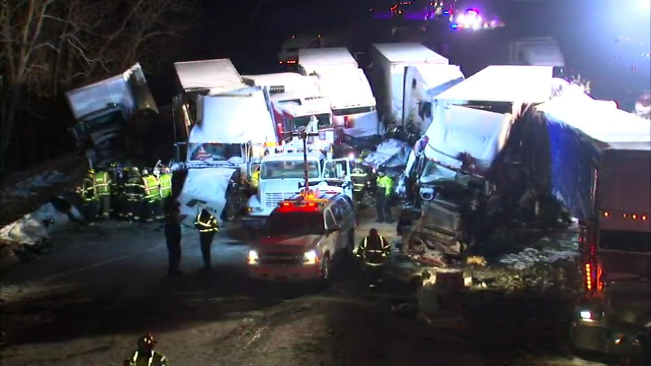 At least 15 semis and too many cars to count were involved in a fatal crash on I-94 near Michigan City, Ind., on January 23, 2014, officials said
