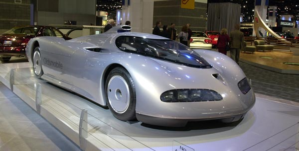 The Oldsmobile concept car Aerotech is shown on display during a press preview at the Chicago Auto Show, Thursday, Feb. 13 2003. (AP Photo/Charles Bennett)