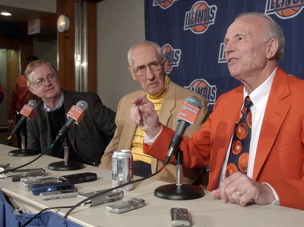 Former Illinois basketball coaches, from left, Gene Bartow (1974-1975), Harv Schmidt (1967-1974) and Lou Henson (1975-1996) talk to the media before the Big Ten basketball game between University of Minnesota and University of Illinois at Assembly Hall  in Champaign, Ill., Saturday  afternoon,   Jan.  29,  2005.   (AP photo/Robert K. O'Daniell)