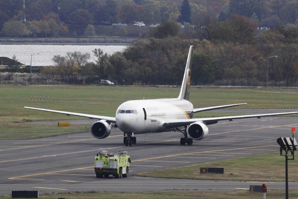 "<div class=""meta ""><span class=""caption-text "">A United Parcel Service jet is seen isolated on a runway at Philadelphia International Airport in Philadelphia, Friday, Oct. 29, 2010. Law enforcement officials are investigating reports of suspicious packages on cargo planes in Philadelphia and Newark, N.J. (AP Photo/Matt Rourke)</span></div>"