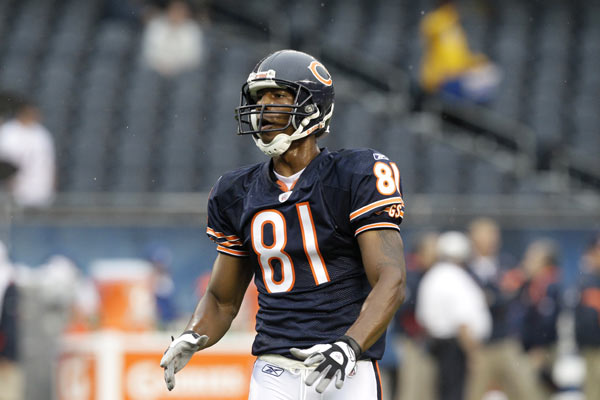 Chicago Bears wide receiver Sam Hurd waits for a pass before an NFL preseason football game in Chicago, Saturday, Aug. 13, 2011. (AP Photo/Nam Y. Huh)