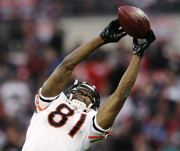 Chicago Bears wide receiver Sam Hurd warms up before an NFL football game against the Tampa Bay Buccaneers Sunday, Oct. 23, 2011, at Wembley Stadium in London. (AP Photo/David J. Phillip)