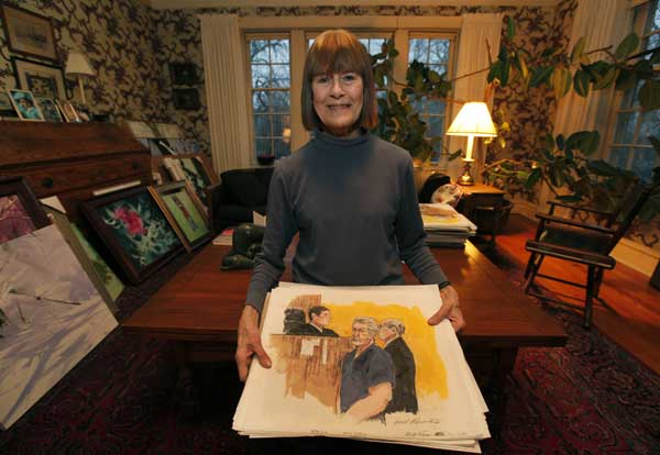This Thursday, Jan. 26, 2012, photo shows courtroom sketch artist Carol Renaud posing for a portrait in her Chicago home with her 2009 sketch of Bolingbrook police officer Drew Peterson in a Will County courtroom. Artists have been drawing legal proceedings since the Salem witch trials to the recent corruption trial of impeached Gov. Rod Blagojevich, but their ranks are thinning as states lift courtroom camera ban. Just 14 states still have prohibitions in place, tand three of those states, Minnesota, South Dakota and Illinois, recently moved to end theirs.  <span class=meta>(AP Photo&#47;Charles Rex Arbogast)</span>