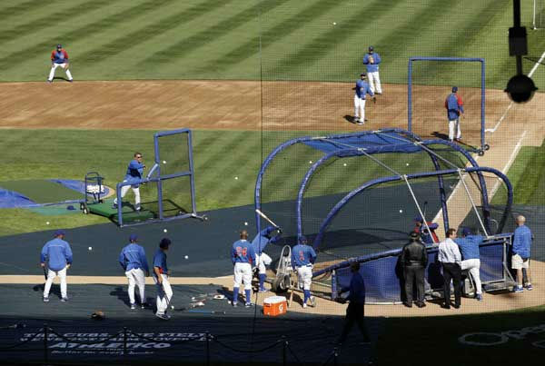 Chicago Cubs players take batting practice during a workout at Wrigley Field in Chicago, Wednesday, April 4, 2012, the day before the Cubs open their season against the Washington Nationals.  Send your photos from Wrigley Field to useeit@abc7chicago.com!  <span class=meta>(AP Photo&#47;Nam Y. Huh)</span>