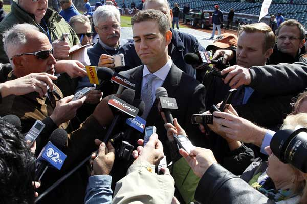Chicago Cubs president Theo Epstein talks to reporters before an opening day baseball game against the Washington Nationals, Thursday, April 5, 2012, in Chicago.  <span class=meta>(AP Photo&#47;Charles Rex Arbogast)</span>