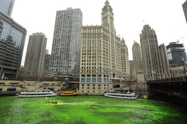 "<div class=""meta ""><span class=""caption-text "">The Chicago River is dyed green right before the start of the St. Patrick's Day parade in Chicago, Saturday, March, 16, 2013.  With the holiday itself falling on a Sunday, many celebrations were scheduled instead for Saturday because of religious observances. (AP Photo/Paul Beaty) (AP Photo/ PAUL BEATY)</span></div>"