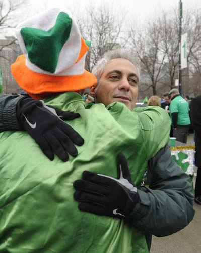 Chicago Mayor Rahm Emanuel hugs Cavan Shanahan before the St. Patrick&#39;s Day parade in Chicago, Saturday, March, 16, 2013. &#40;AP Photo&#47;Paul Beaty&#41; <span class=meta>(AP Photo&#47; PAUL BEATY)</span>