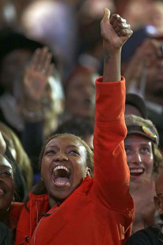 A supporter reacts to election results at the election night party for President Barack Obama Tuesday, Nov. 6, 2012, in Chicago. &#40;AP Photo&#47;Charles Rex Arbogast&#41; <span class=meta>(AP Photo&#47; Charles Rex Arbogast)</span>
