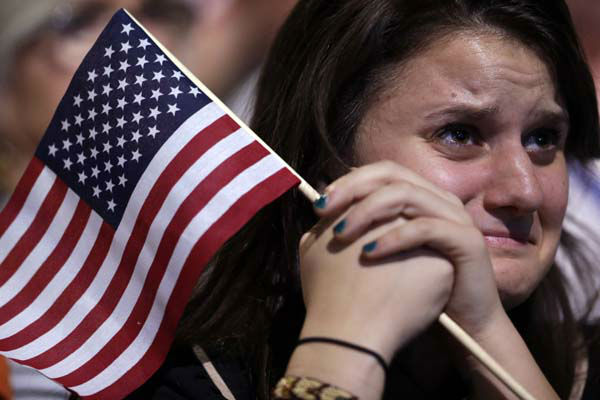 A supporter cries as President Barack Obama speaks during an election night party, Wednesday, Nov. 7, 2012, in Chicago. Obama defeated Republican challenger former Massachusetts Gov. Mitt Romney. &#40;AP Photo&#47;Matt Rourke&#41; <span class=meta>(AP Photo&#47; Matt Rourke)</span>