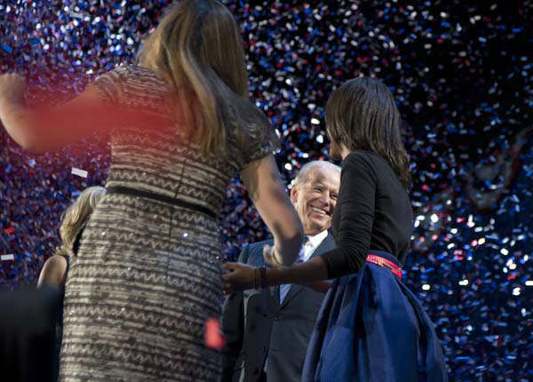 Vice President Joe Biden celebrates on stage at the election night party at McCormick Place, Wednesday, Nov. 7, 2012, in Chicago. Obama defeated Republican challenger former Massachusetts Gov. Mitt Romney. &#40;AP Photo&#47;Carolyn Kaster&#41; <span class=meta>(AP Photo&#47; Carolyn Kaster)</span>