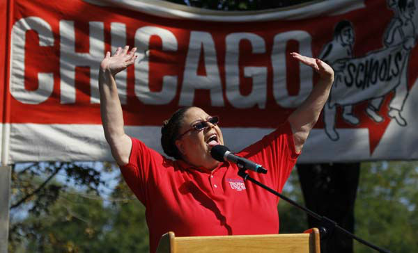 Karen Lewis, president of the Chicago Teachers Union addresses  the crowd during a rally Saturday, Sept. 15, 2012, in Chicago. Lewis reminded that although there is a &#34;framework&#34; for an end to their strike, they are still on strike. &#40;AP Photo&#47;Charles Rex Arbogast&#41; <span class=meta>(AP Photo&#47; Charles Rex Arbogast)</span>