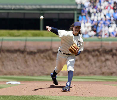 Chicago Cubs starting pitcher Jeff Samardzija delivers a pitch during the first inning at the 100th anniversary of the first baseball game at Wrigley Field against the Arizona Diamondbacks, Wednesday, April 23, 2014, in Chicago. &#40;AP Photo&#47;Charles Rex Arbogast&#41; <span class=meta>(Photo&#47;Charles Rex Arbogast)</span>
