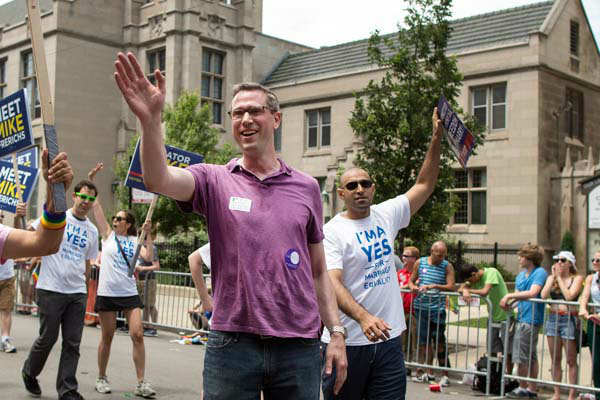 State Sen. Mike Frerichs, D-Champaign, waves to crowds as he walks in the Chicago Gay Pride Parade in Chicago, Sunday, June 30, 2013. &#40;AP Photo&#47;Scott Eisen&#41; <span class=meta>(AP Photo&#47; Scott Eisen)</span>