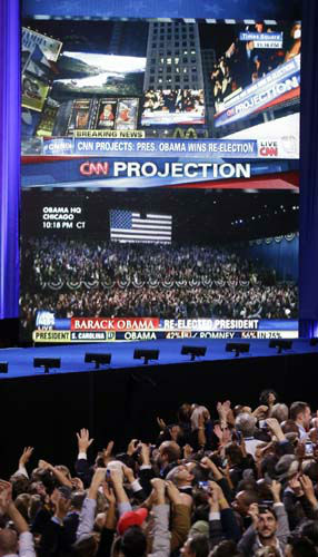 "<div class=""meta ""><span class=""caption-text "">Supporters cheer as a network projects the re-election of President Barack Obama at his election night party Tuesday, Nov. 6, 2012, in Chicago. (AP Photo/Chris Carlson) (AP Photo/ Chris Carlson)</span></div>"