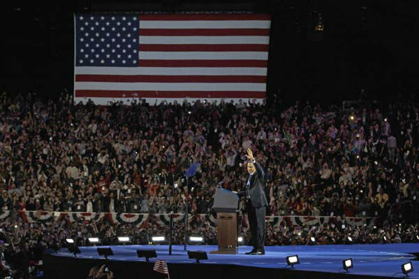 President Barack Obama waves to his supporters at his election night party Wednesday, Nov. 7, 2012, in Chicago. President Obama defeated Republican challenger former Massachusetts Gov. Mitt Romney. &#40;AP Photo&#47;M. Spencer Green&#41; <span class=meta>(AP Photo&#47; M. Spencer Green)</span>