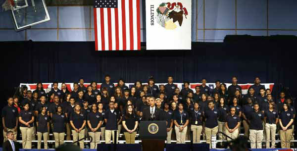 In this photo taken  Friday, Feb. 15, 2013, in Chicago, President Barack Obama speaks about the nations struggle with gun violence at an appearance at Hyde Park Academy. An 18-year-old Chicago woman was killed the same day, hours after her sister had sat on the stage behind President Obama, listening to him push for gun control legislation. Janay Mcfarlane was shot once in the head around 11:30 p.m. Friday in North Chicago, Lake County Coroner Thomas Rudd told the Chicago Sun-Times. McFarlane&#39;s sister 14 year-old Destini, attended Obama&#39;s speech. &#40;AP Photo&#47;M. Spencer Green&#41; <span class=meta>(AP Photo&#47; M. Spencer Green)</span>