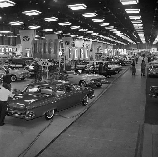 This is a view of the Chicago Auto Show February 17, 1961. Autos are displayed in one long hall. (AP Photo)