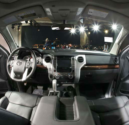 The interior of the redesigned 2014 Toyota Tundra is unveiled at the Chicago Auto Show Thursday, Feb. 7, 2013, in Chicago. &#40;AP Photo&#47;Charles Rex Arbogast&#41; <span class=meta>(AP Photo&#47; Charles Rex Arbogast)</span>