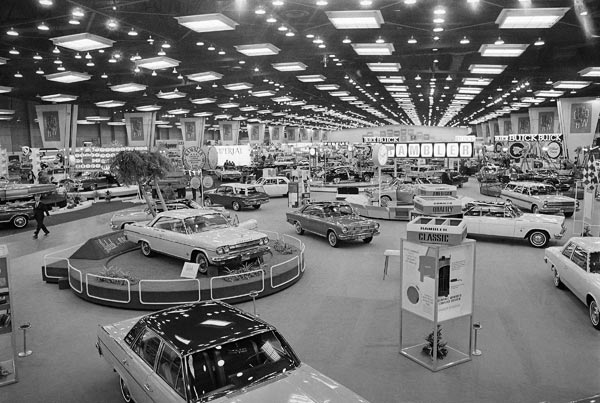 Acres and acres of new automobiles of all sizes and shapes on display February 20, 1965, at McCormick Place in Chicago, Illinois. (AP Photo/Larry Stoddard)