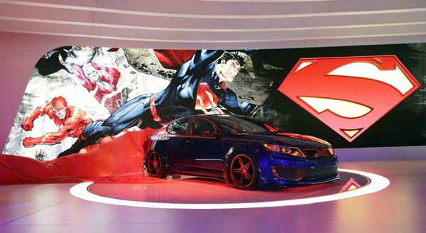 The Superman-Inspired Kia Optima Hybrid is presented  during the media preview of the Chicago Auto Show at McCormick Place  in Chicago on Thursday, Feb. 7, 2013.&#40;AP photo&#47;Nam Y. Huh&#41; <span class=meta>(AP Photo&#47; Nam Y. Huh)</span>
