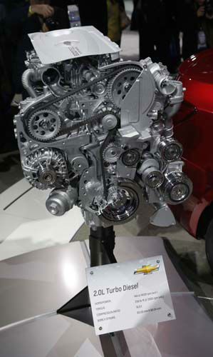 "<div class=""meta ""><span class=""caption-text "">The 2014 Chevrolet Cruze Diesel engine is unveiled at the Chicago Auto Show Thursday, Feb. 7, 2013, in Chicago. (AP Photo/Charles Rex Arbogast) (AP Photo/ Charles Rex Arbogast)</span></div>"