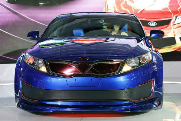 The Superman-Inspired Kia Optima Hybrid Soars is revealed during the media preview of the Chicago Auto Show at McCormick Place  in Chicago on Thursday, Feb. 7, 2013.e &#40;AP photo&#47;Nam Y. Huh&#41; <span class=meta>(AP Photo&#47; Nam Y. Huh)</span>