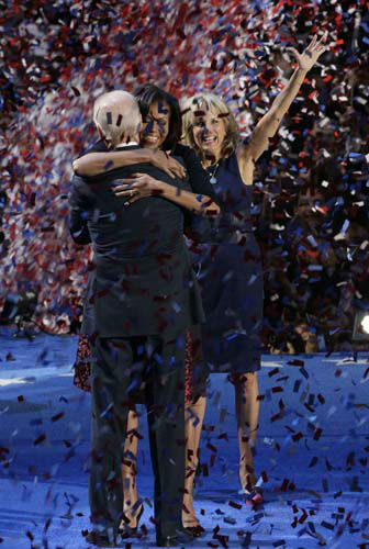 Jill Biden watches as Vice President Joe Biden is hugged by first lady Michelle Obama at President Barack Obama&#39;s election night party Wednesday, Nov. 7, 2012, in Chicago. President Obama defeated Republican challenger former Massachusetts Gov. Mitt Romney. &#40;AP Photo&#47;Nam Y. Huh&#41; <span class=meta>(AP Photo&#47; Nam Y. Huh)</span>