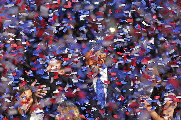 President Barack Obama smiles after delivering his victory speech to supporters gathered in Chicago early Wednesday Nov. 7 2012. &#40;AP Photo&#47;Jerome Delay&#41; <span class=meta>(AP Photo&#47; Jerome Delay)</span>