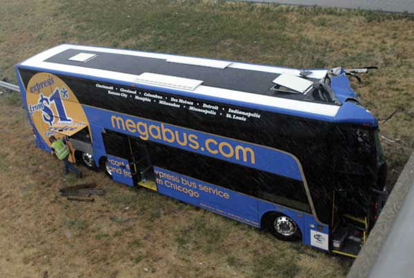 A double-decker Megabus traveling between...