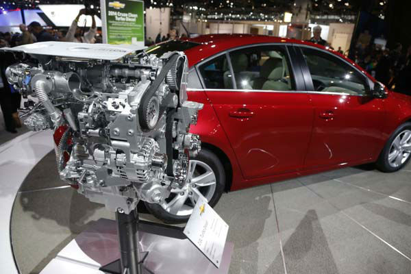 Pictured is the 2014 Chevrolet Cruze Diesel engine unveiled at the Chicago Auto Show Thursday, Feb. 7, 2013, in Chicago. &#40;AP Photo&#47;Charles Rex Arbogast&#41; <span class=meta>(AP Photo&#47; Charles Rex Arbogast)</span>