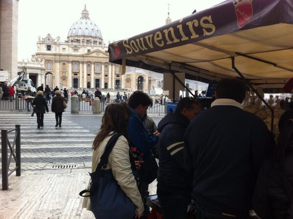 Photo by Alan Krashesky (@KrasheskyABC7): Sistine Chapel is closed, but long lines outside St Peter's Basilica today. #Rome #popewatch