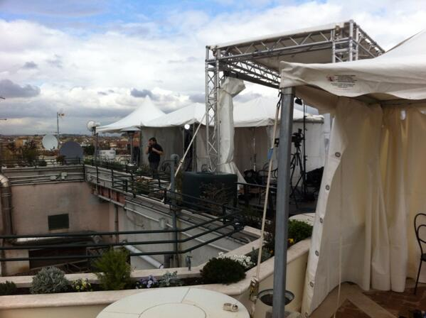 Photo by Alan Krashesky (@KrasheskyABC7): Our #Rome rooftop studio is getting a bit more crowded! #popewatch