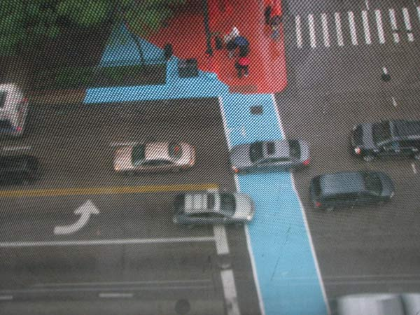 A birds-eye view of the blue crosswalk at the Color Jam intersection from the 8th floor of the building on 11th East Adams. Photo taken May 31, 2012&#40;ABC7Chicago.com&#47; Evan Peterson&#41; <span class=meta>(ABC7Chicago.com&#47; Evan Peterson)</span>