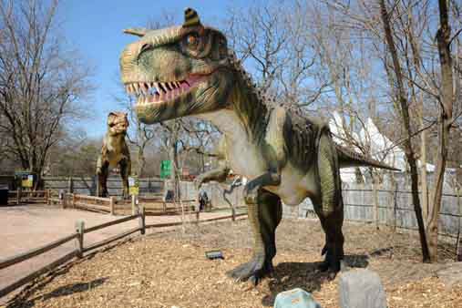 Dinosaurs Alive! feature 24 life-size animatronic dinosaurs, including ferocious favorites like Tyrannosaurus rex &#40;in the background&#41;. <span class=meta>(Jim Schulz&#47;Chicago Zoological Society)</span>