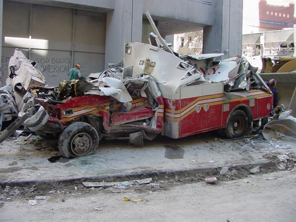 Crushed ambulance