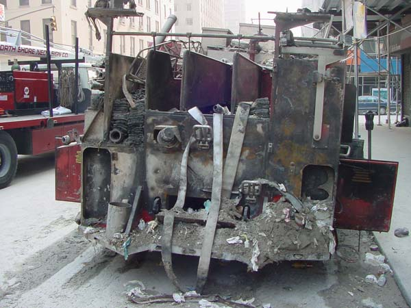The back of a burned out fire truck