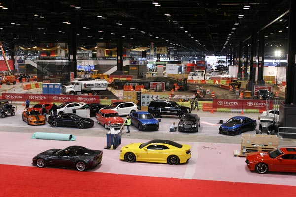 Crews worked to set up the 2011 Chicago Auto Show at McCormick Place before it opened to the media Wednesday, Feb. 9.