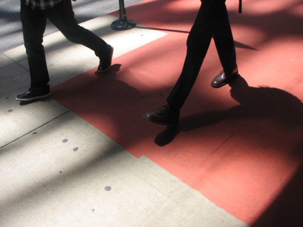 A sidewalk at the Color Jam intersection covered in red vinyl. Photo taken May 29, 2012 &#40;ABC7Chicago.com&#47; Evan Peterson&#41; <span class=meta>(ABC7Chicago.com&#47; Evan Peterson)</span>