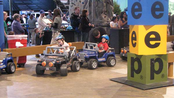 Toddlers start their &#34;test-drives&#34; at the Baby Jeep display, while parents look on at the 2012 Chicago Auto Show, located at McCormick Place in Chicago on Monday, Feb. 13, 2012.  <span class=meta>(Joanna Wesoly, ABC 7 Chicago)</span>